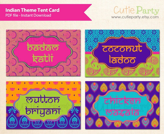 indian themed tent card diwali tent card deepavali tent