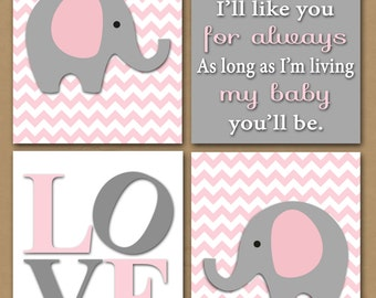 8X10 Baby Girl Nursery Art - Digital Download - Pink & Gray - Elephants - LOVE