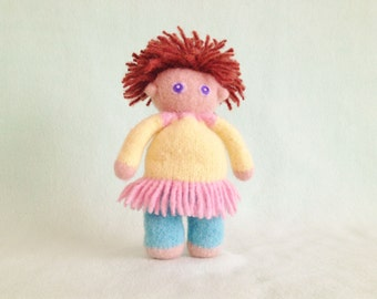 Hand knit felt wool stuffed waldorf girl doll