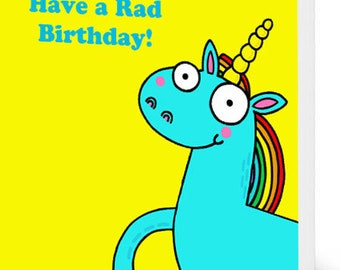 Unicorn Birthday Card (Yellow)