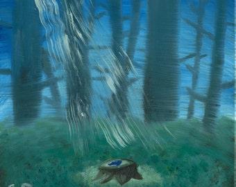 "Legend of Zelda Oil Painting - ""The Lost Ocarina"" 12x12"