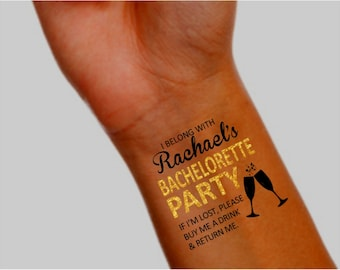 15 Bachelorette Party Tattoos - Temporary Tattoo - Bachelorette Party Favor - Pack of 15 - Includes Bride Tattoo - Faux Metallic Gold Accent