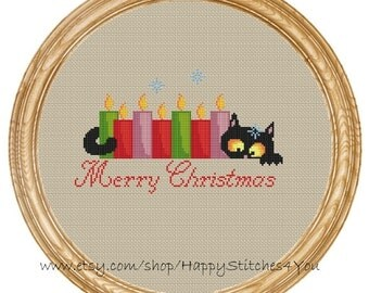 Cross Stitch Pattern PDF christmas cat with candles DD0188