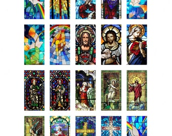 Church Stained Glass Windows 1 x 2 inch Collage Sheet Printable Instant Download Domino Jewelry Scrapbook Catholic