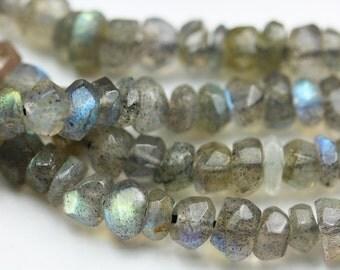 One full strand 5mm Faceted labradorite gemstone chips, Gemstone beads,13 inch -GEM1039