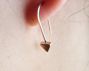 Triangular rose gold panel earrings, rose gold panel dangle earrings, geometric earrings, arrow earrings, triangular earrings