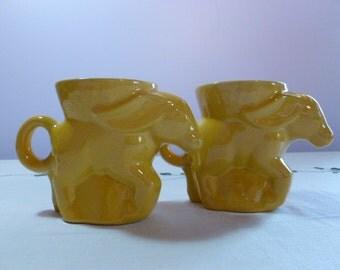 Frankoma Donkey Mugs Set of 2 Yellow 1975