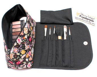 Fantastic Floral Large Black Makeup Bag with a Brush Holder and Magnetic Button!