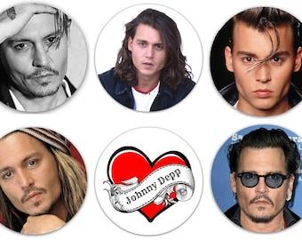 """Set of 6 Johnny Depp 1.25"""" Pinback Buttons, Flat Backs or Magnets"""