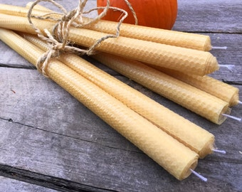 Beeswax hand rolled candles - rolled 16 inch tapers - 1 pair