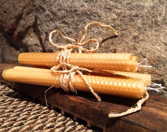 Beeswax hand rolled candles - rolled 9 inch tapers - 1 pair