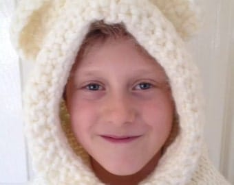 Cream Burton bear cowl, hand knitted, age 5 to 8