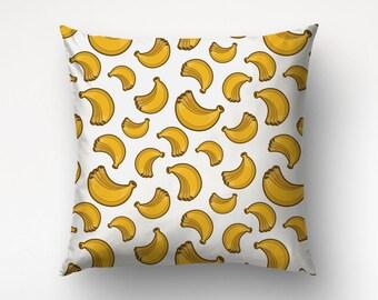 Banana Pillow, Yellow Throws, Kids Pillow, Nursery Decoration, Tropical Decor