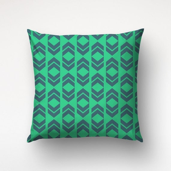 Throw Pillow Chevron Green And Blue Custom Color Graphic