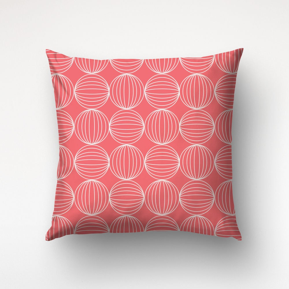 Circle Design Throw Pillows : Graphic Pillows Coral Color Circle Pattern Sofa Throws