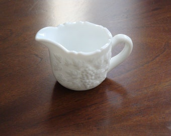 Smith Glass VINTAGE Pattern Milk Glass Cream Jug and Sugar!
