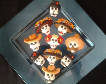 Dia de Los Muertos Sugar Skull Day of the Dead Skulls 12 Cookies