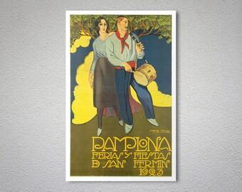 Pamplona Ferias y Fiestas  San Fermin , 1923  Vintage Travel Poster - Poster Print, Sticker or Canvas Print / Gift Idea