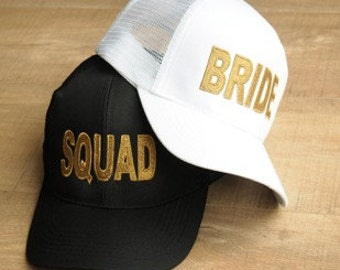 Black Squad Baseball Cap with Gold Embroidery