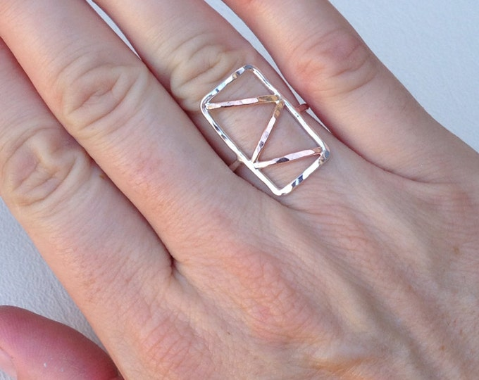 Rose gold fill Sterling silver zig zag hammered ring