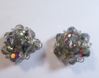 Vintage Silver Tone Smokey AB Crystal Cluster Beaded Clip On Earrings  DL#5942