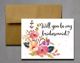 Printable Will You Be My Bridesmaid Card - Instant Download Greeting Card - Will You Be My Bridesmaid Instant Download - Wedding Card