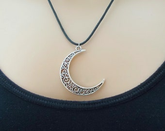 black cord necklace silver moon necklace fashion jewellery gift for women cord moon necklace celestial jewellery cord jewellery moon charm