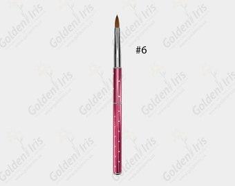 Kolinsky Nail Brush #6  with Pink Aluminum Folding Handle