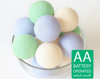 20 Cotton Ball LED String Lights AA Battery Operated, Wedding Light, Patio Party, Fairy, Outdoor -  Pastel Lavender Cream Green