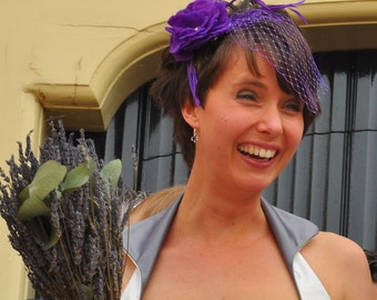 Purple passion – French blusher veil, birdcage veil, purple birdcage veil, bridal veil, wedding veil, french netting headpiece, purple veil