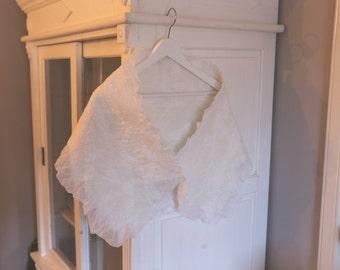 White peony - Bridal shawl silk, bridal wrap felt, bridal bolero, wedding dress wrap, scarf wedding Dutch design OOAK