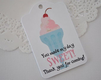 Pink Ice Cream Party Favor Tag | Ice Cream Shop Favor Tags | Ice Cream Sundae Birthday Tags | Sweet Shop Favor Tag