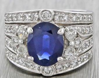 1940s Antique Art Deco 18k WhiteGold 3.48ct Sapphire and Diamond Engagement Ring
