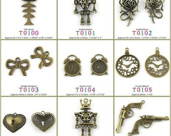 Jewelry Making Charms Pendant Fish Bone Hollow Robot Rose Bowtie Bowknot Alarm Clock Pocket Watch Heart Lock Pirate Gun Pistol Supplies