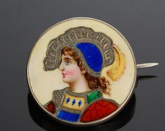 Art Nouveau Enamel Pin, Sterling Silver, Antique Brooch