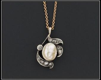 Antique Baroque Pearl & Rose Cut Diamond Conversion Pendant Necklace, Bridal or Anniversary Necklace
