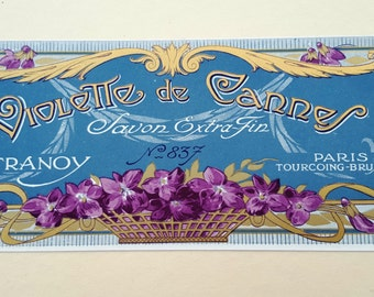Vintage French Soap Label, French Label, Violette de Cannes, Paul Tranoy Label, 20s Ephemera, 20s Label, Vintage Decor