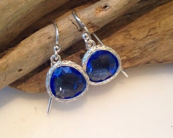 Sterling Silver and royal blue Crystal Earrings, Dangle Earrings, gemstone Earrings, Gift Earrings, Blue stone earrings