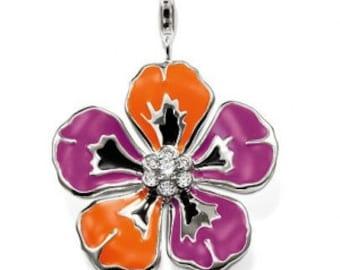 charms argent divers nature fleur violet orange,Bracelet Charm,sterling silver charm,Bracelet européen,pendentif, Style Européen à breloques