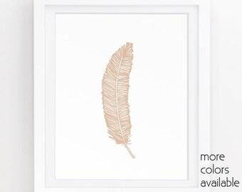 Rustic printable, Cabin wall art, Nature artwork, Neutral nursery decor, Feather wall decor, Brown wall art, Beige art 5x7, 8x10, 11x14 226b