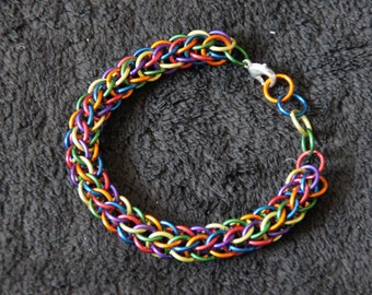 Cute colourful rainbow chainmaille bracelet