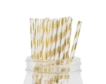 Paper Straws - Metallic Gold Striped Pattern - 25pcs - Item:SPS250090 - Just Artifacts Brand -Visit Our Store For More Colors & Patterns!