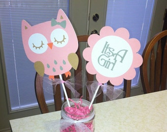 Owl Baby Shower centerpiece sticks, owl baby shower, owl centerpiece, owl party, its a girl shower