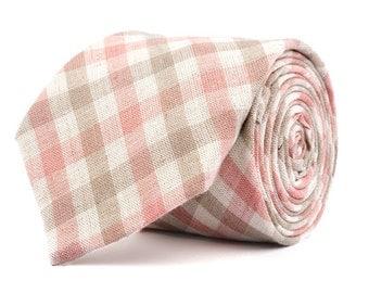 Pink & Brown Plaid Necktie