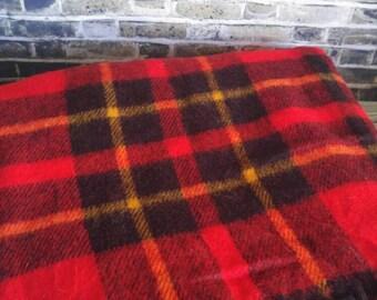 Plaid Wool Blanket, Vintage Wool Blanket, 54x54 Red Black Yellow Tartan Plaid