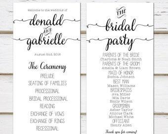 Simple program etsy printable simple wedding program black and white plain casual program template pronofoot35fo Gallery
