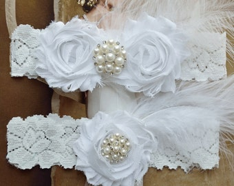 White Wedding Garter Set, Wedding Garter, Toss Garter, Feather Garter, Lace Garter, Flower Garter, White Lace,  Rosalie Style 10821