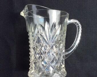 Vintage Creamer/Pitcher, Anchor Hocking Prescut Glass, Pineapple pattern, 70's