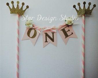 Pink and Gold Princess Cake Topper Birthday  Bunting- Cake Topper Paper straw Pink, Gold, Princess