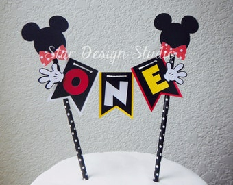 Mickey Mouse Cake Topper Birthday Bunting-  Red, white and  yellow